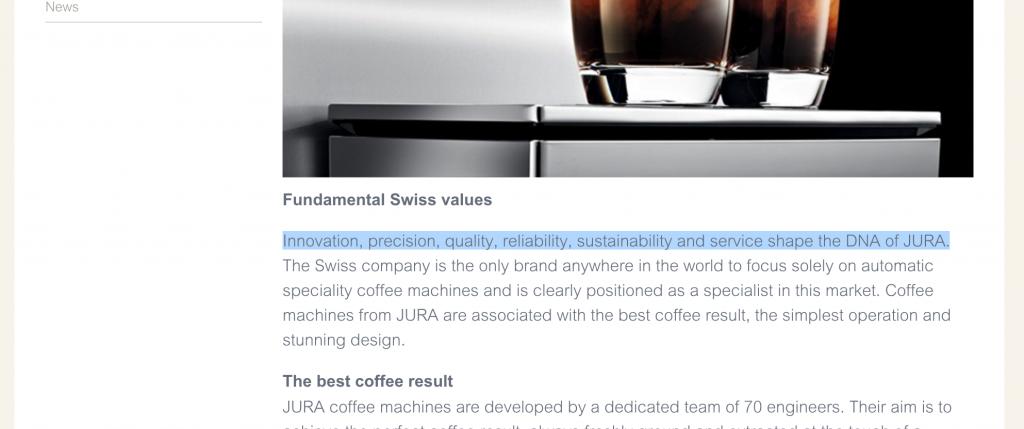 Screenshot of Jura's fundamental values