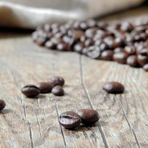 close up to coffee beans on a table